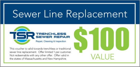 Sewer line replacement coupon.